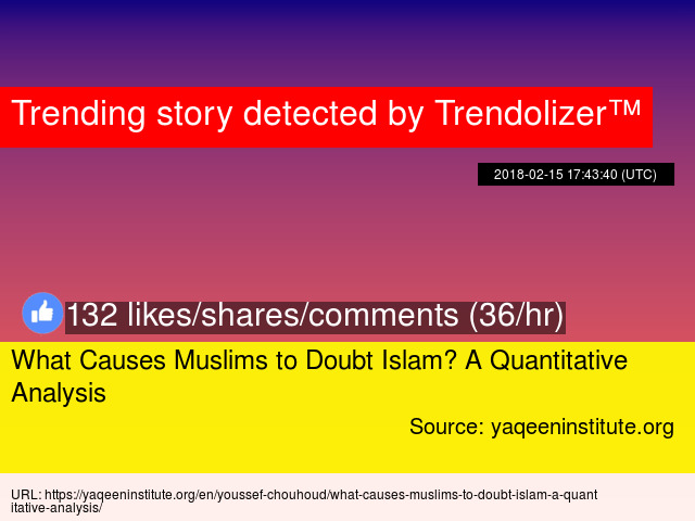 What Causes Muslims To Doubt Islam A Quantitative Analysis