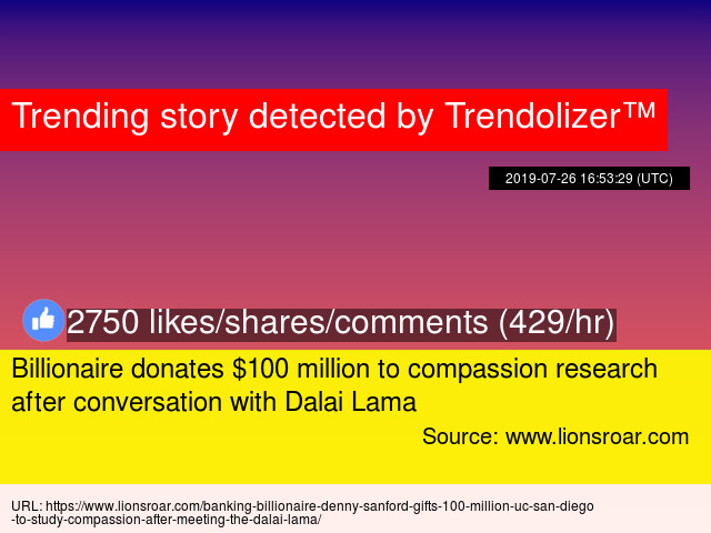 Billionaire donates $100 million to compassion research after